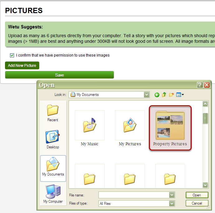how to add a picture to a folder
