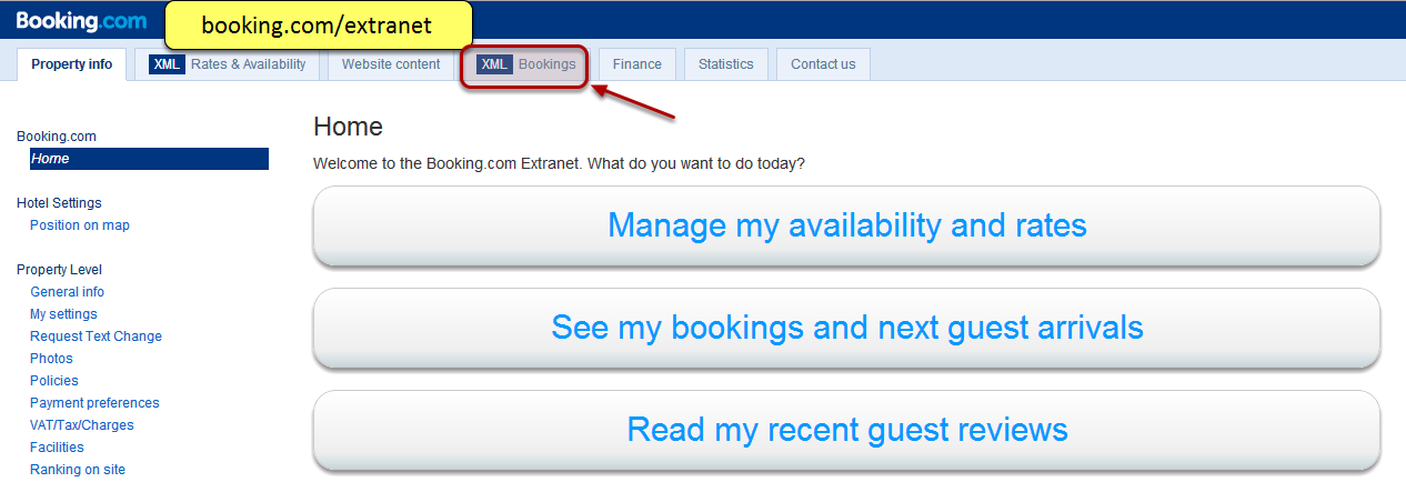 Booking extranet