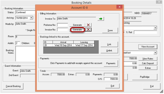 Click On Generate Next To Invoice No To Create The Invoice For This  Particular Booking.  How To Generate An Invoice